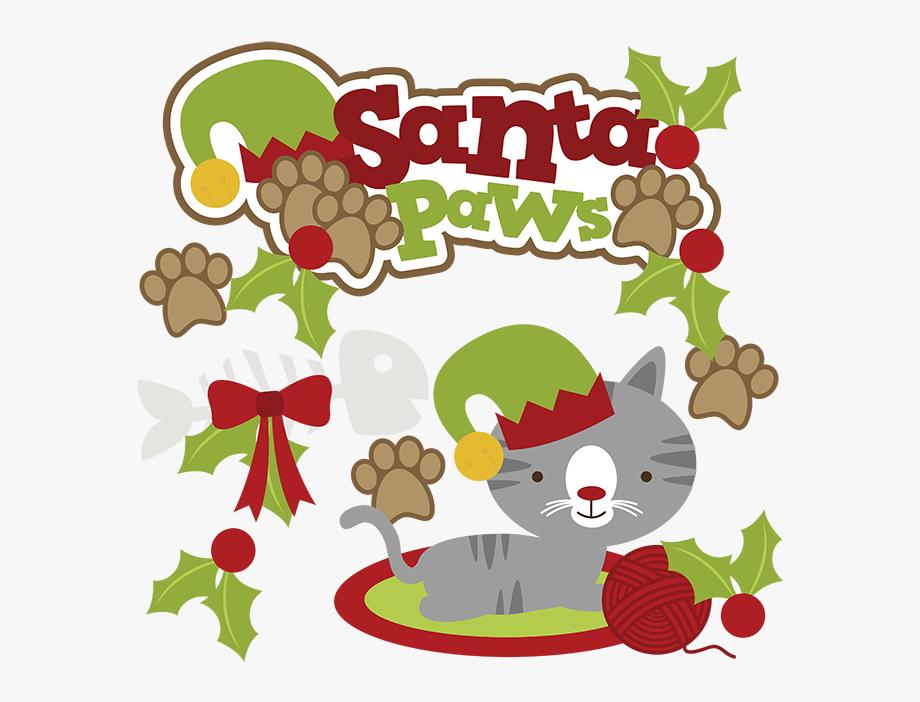 Santa Paws Svg Cat Clipart Cat Svg Cute Cat Clip Art.
