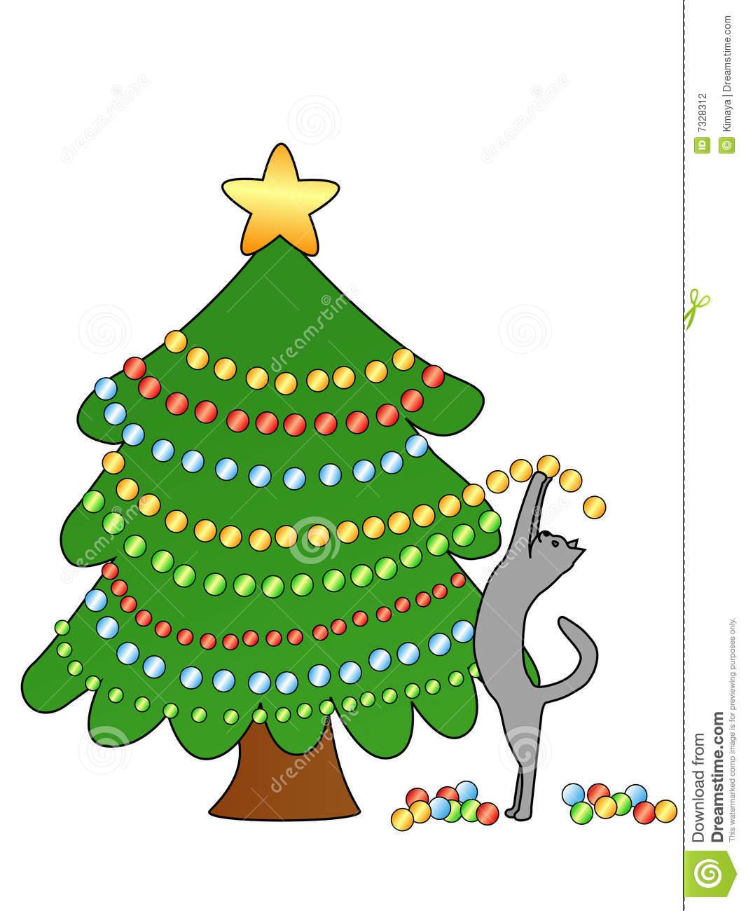 Cat Decorating Christmas Tree Stock Vector.