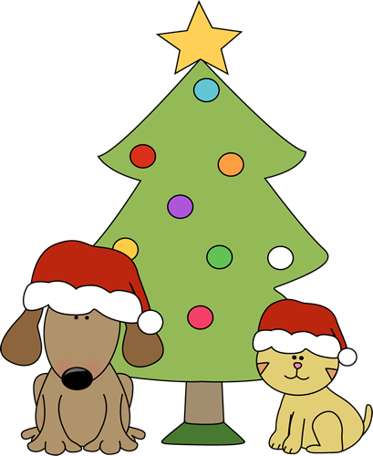 Christmas dog and cat with Christmas tree. There are more Christmas.