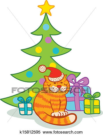 Cat and christmas tree Clipart.