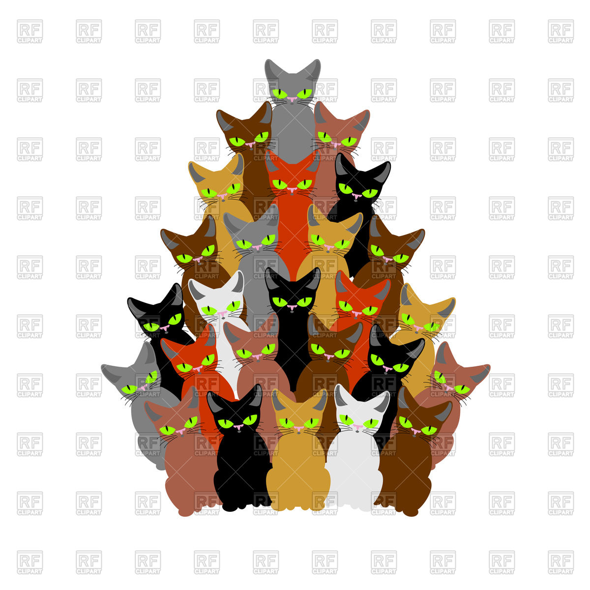 Christmas tree of cats Stock Vector Image.