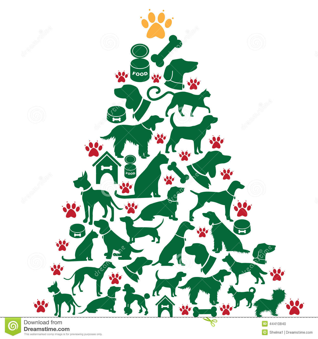 Cartoon Dogs And Cats Christmas Tree Stock Vector.