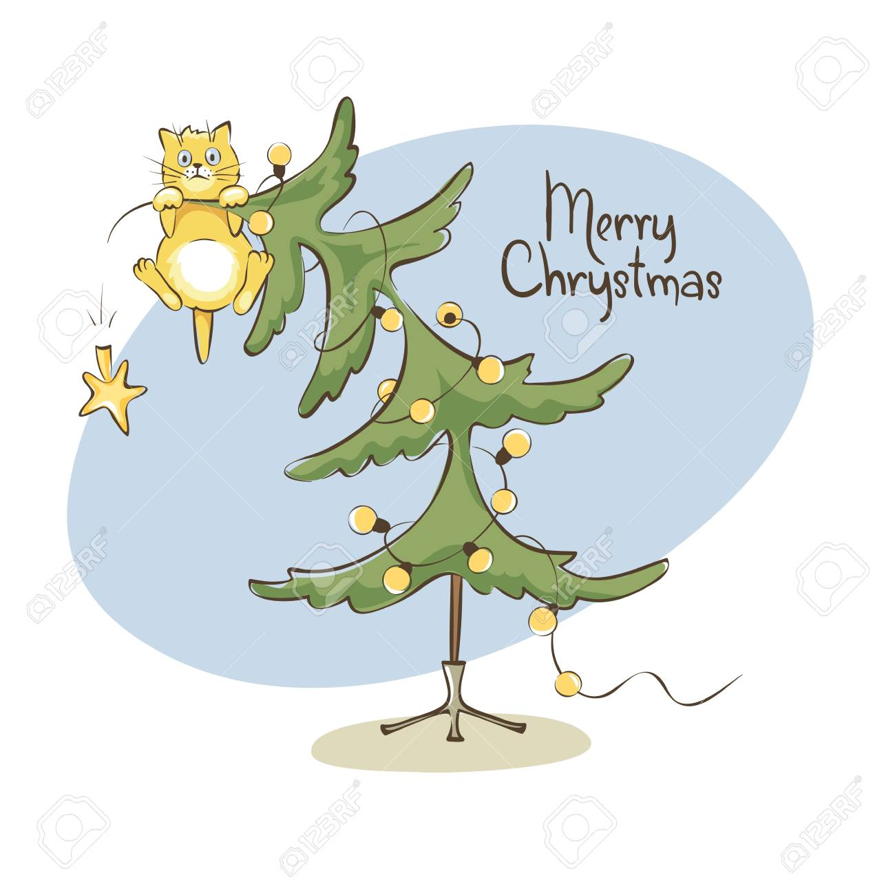 Cat on the christmas tree / Vector illustration, funny cat climbed...