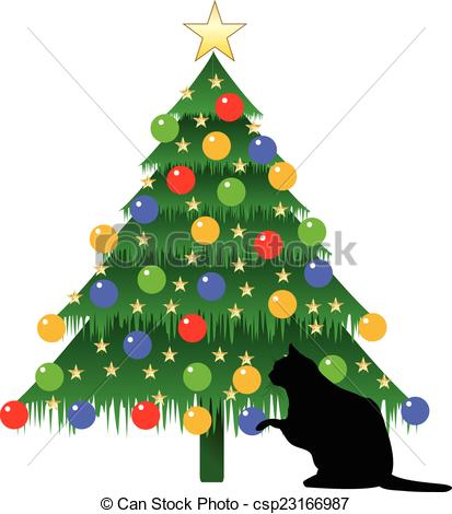 CHRISTMAS TREE AND CAT.