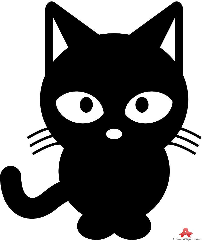 Cat black and white cat clipart.