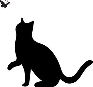 Free Cat Clip Art Image: clip art silhouette of a cat pawing.