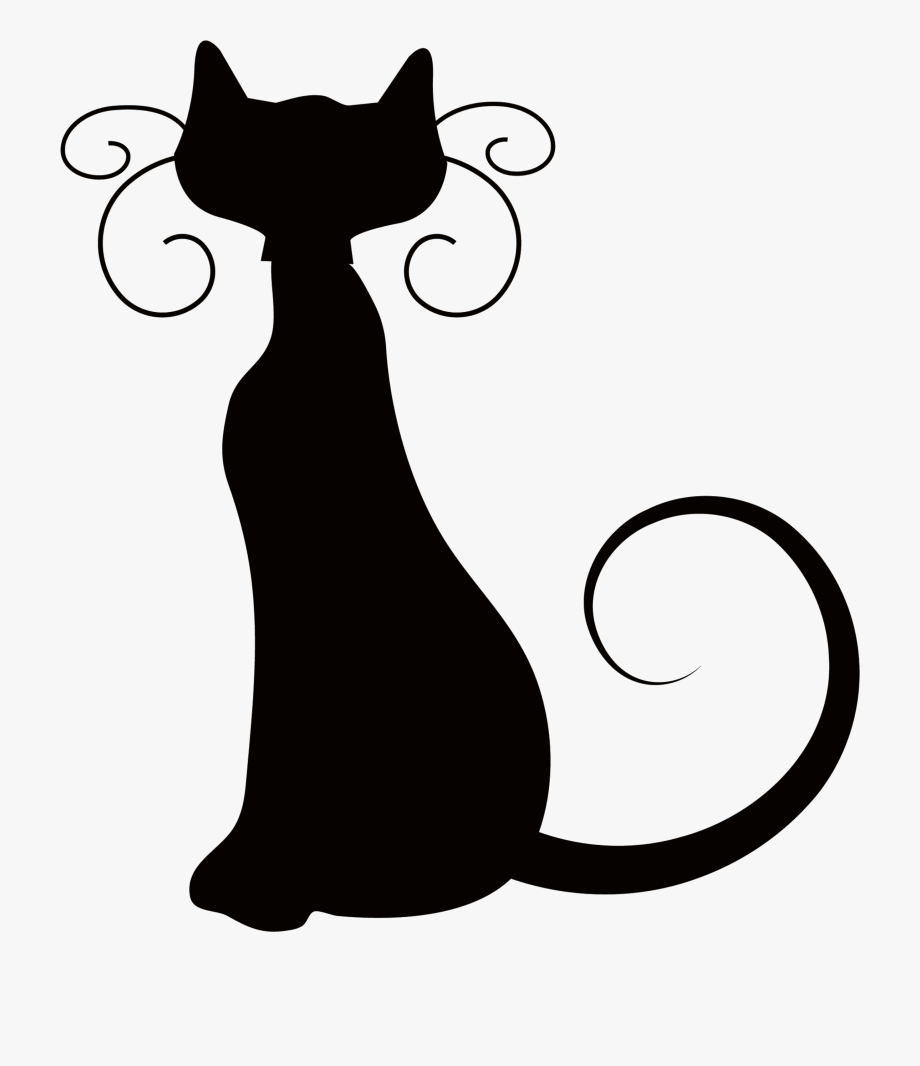 Halloween Cat Clipart Black And White.