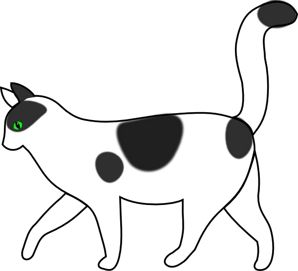 White Cat Walking clip art Free vector in Open office drawing svg.