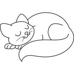 cat clip art black and white outline.