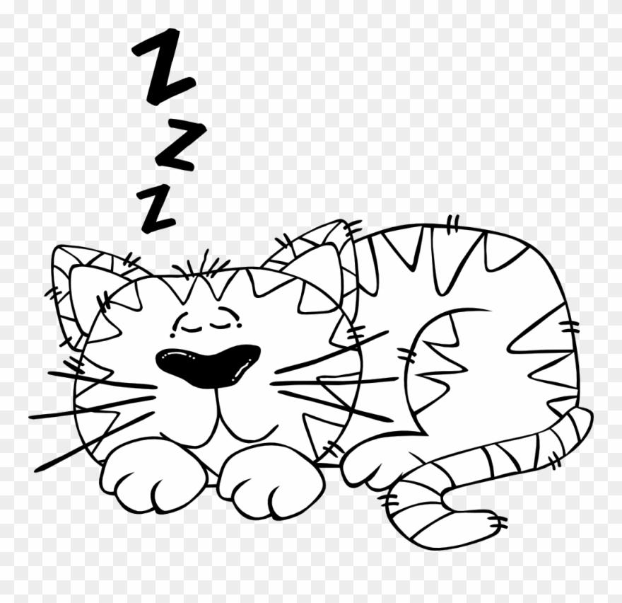 Free Vector Cartoon Cat Sleeping Outline Clip Art.