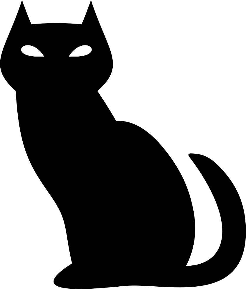 Cat icon clip art black and white stock png files, Free CLip.