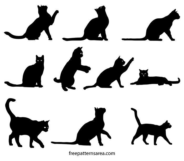 Free Cat Clipart Silhouette Vector.