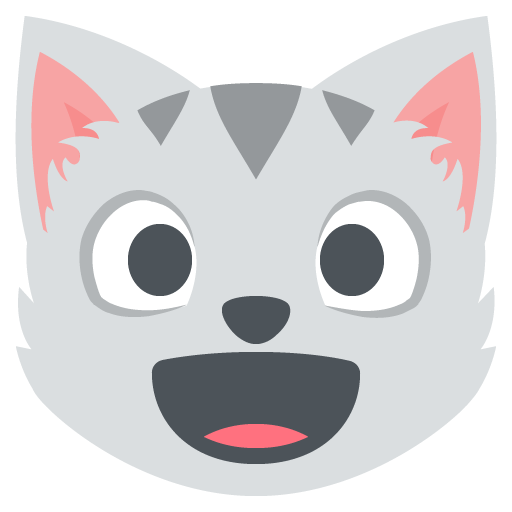 Smiling Cat Face With Open Mouth Emoji Vector Icon.