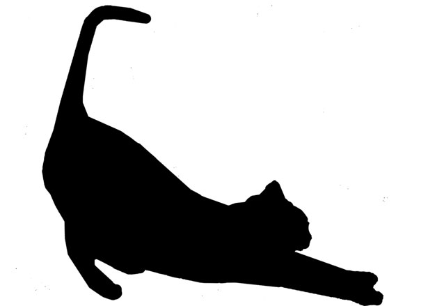 Cat Stretch Silhouette In Black.