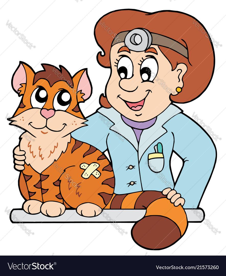 Cat at veterinarian.
