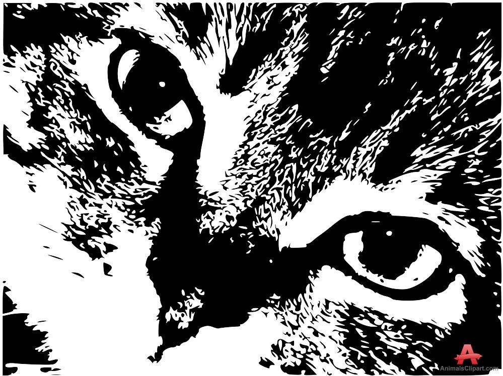Closeup of Cat Face Stencil Clipart.