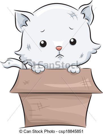 Clipart Vector of Sad Cat.