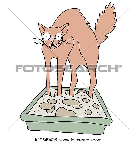 Clip Art of Dirty Cat Litter Box k19549436.