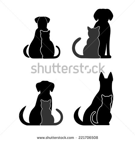 Dog Cat Silhouette Stock Images, Royalty.