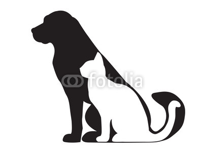 Black silhouette of dog and white cat isolated on white Wall Decal.