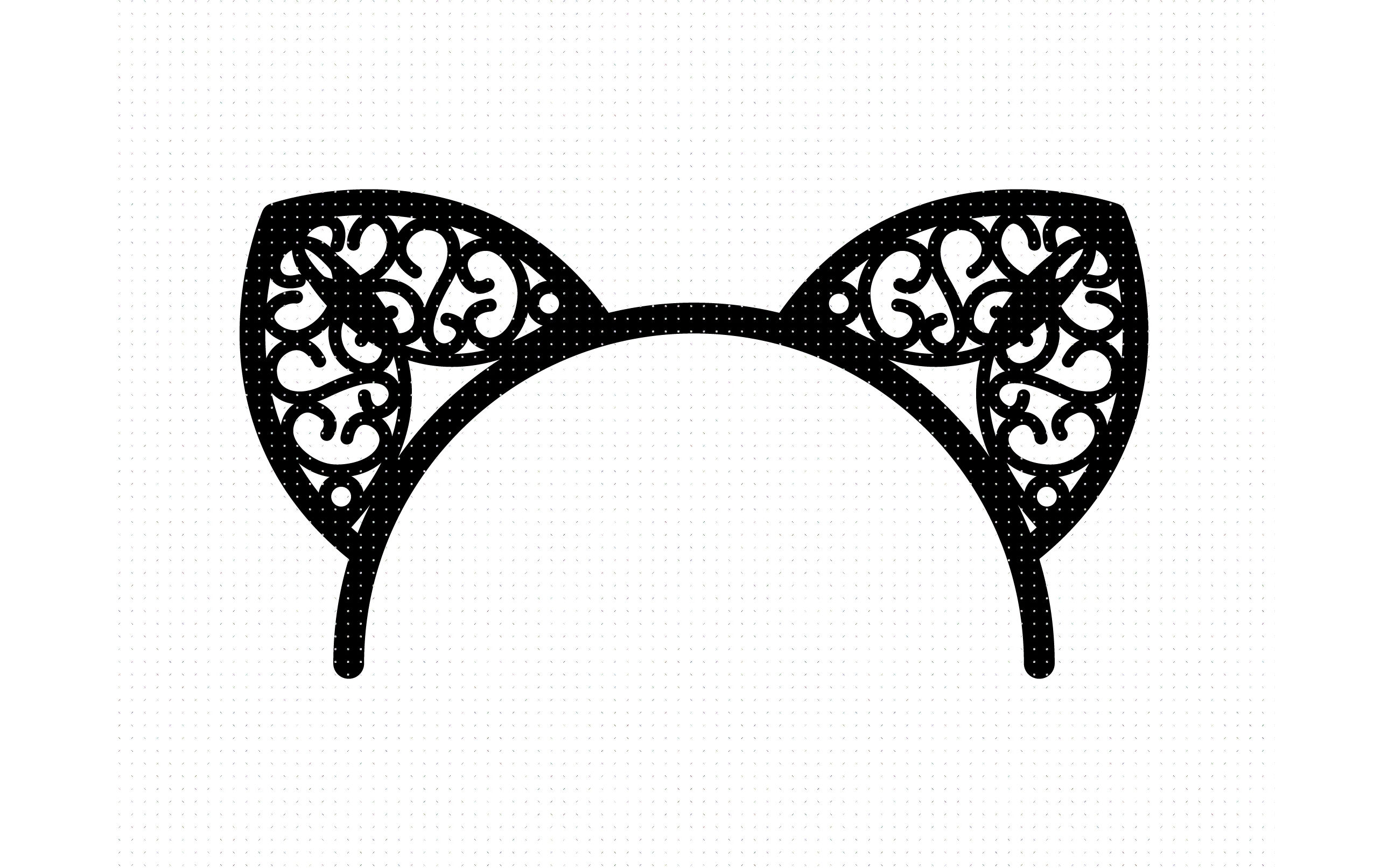 cat ears headband cutout svg, dxf, vector, eps, clipart.