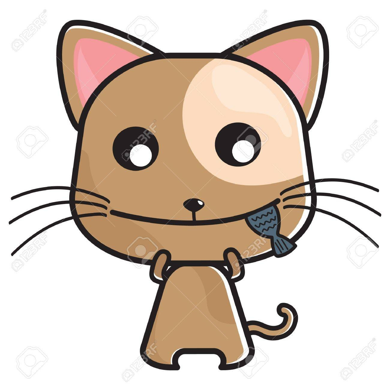 At Cat Eating Fish Clipart 52573545.