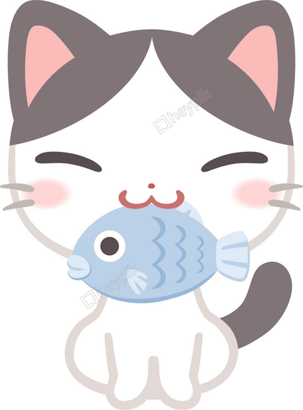 Cat Eating Fish Clipart.