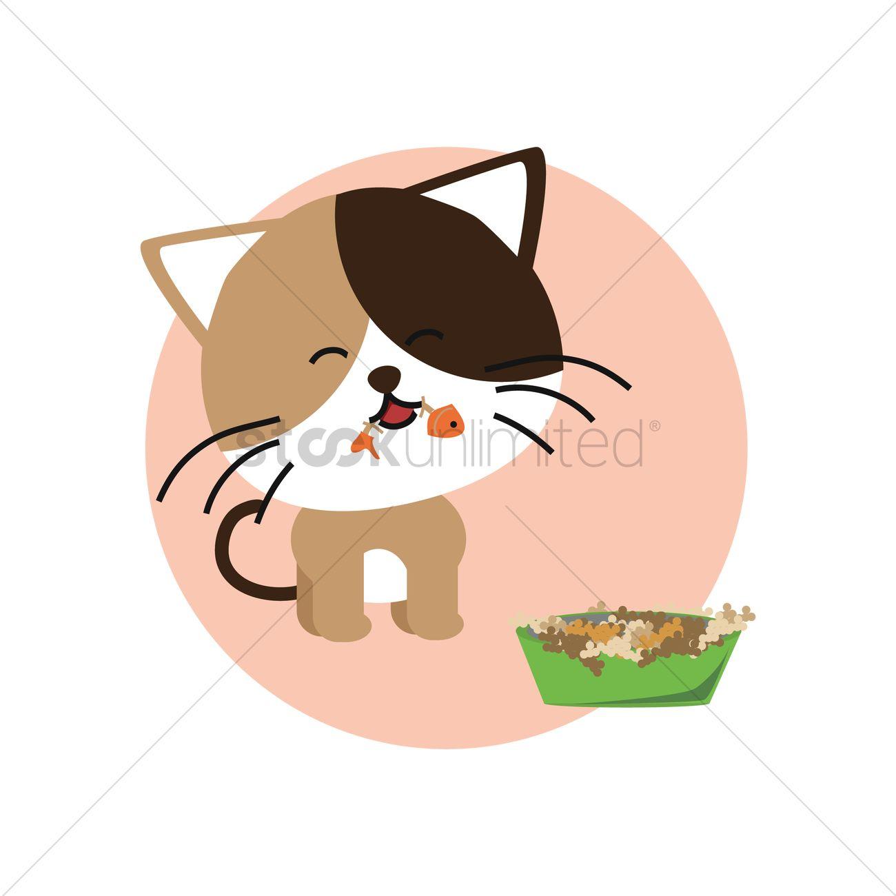 Cat eating fish Vector Image.