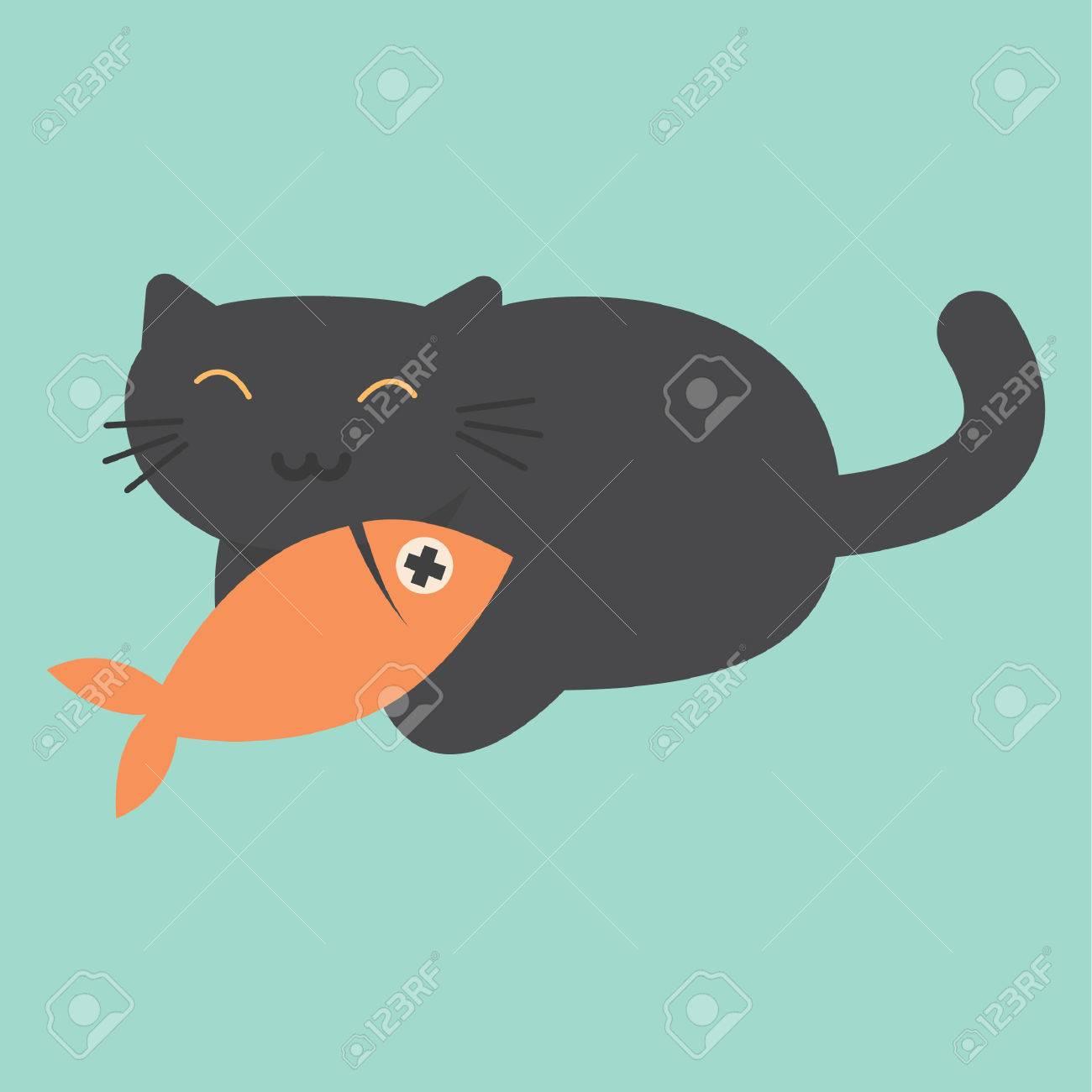 cat eating fish.