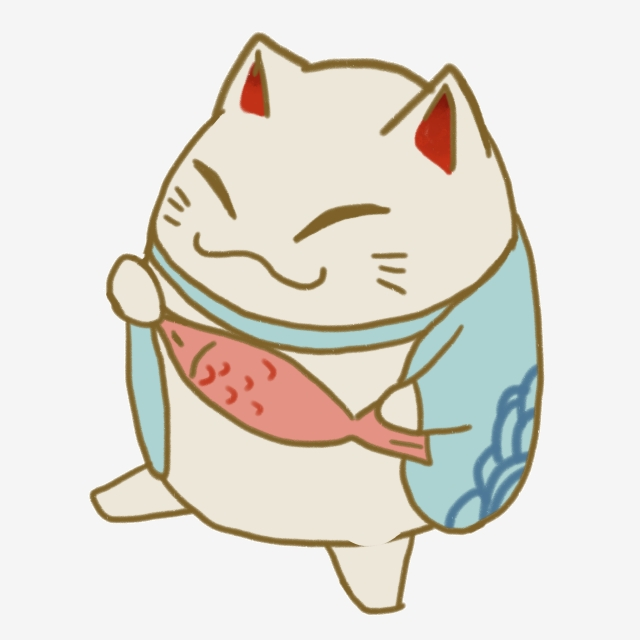Lucky Cat Illustration Eating Fish, Lucky Cat, Blue Clothes Lucky.