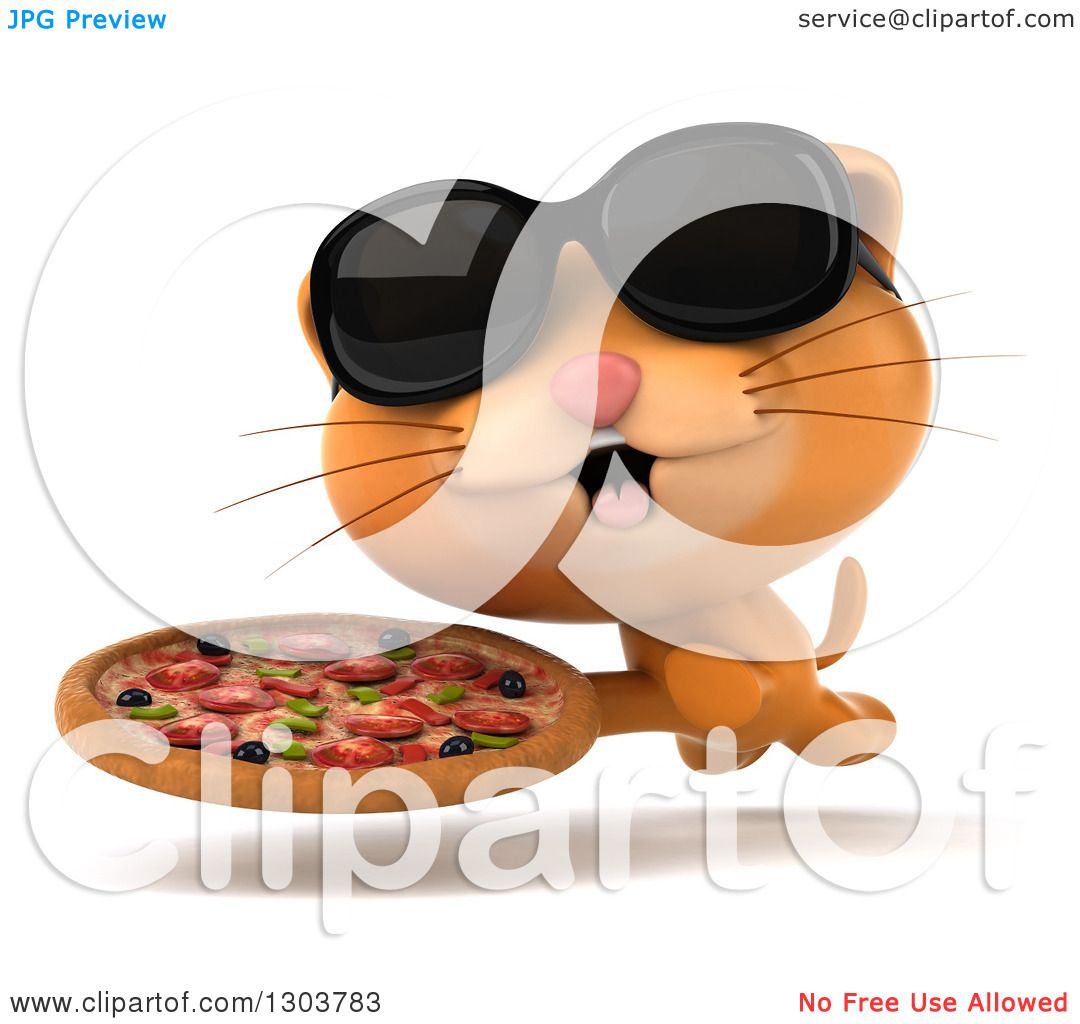 Clipart of a 3d Ginger Cat Wearing Sunglasses and Running with a.