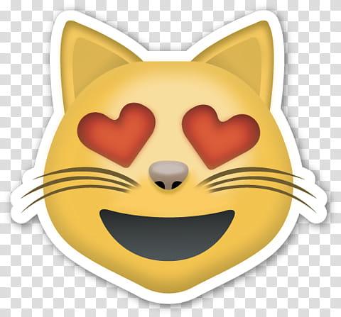EMOJI STICKER , cat emoji illustration transparent.