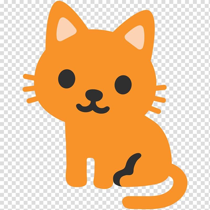 Orange cat , Cat Emoji Android Nougat Android Oreo, cat.