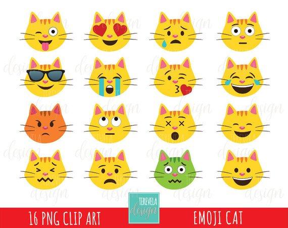 50% SALE Emoji cat clipart, emoticons clipart, commercial.