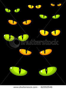 Halloween Cat Eyes Clip Art.