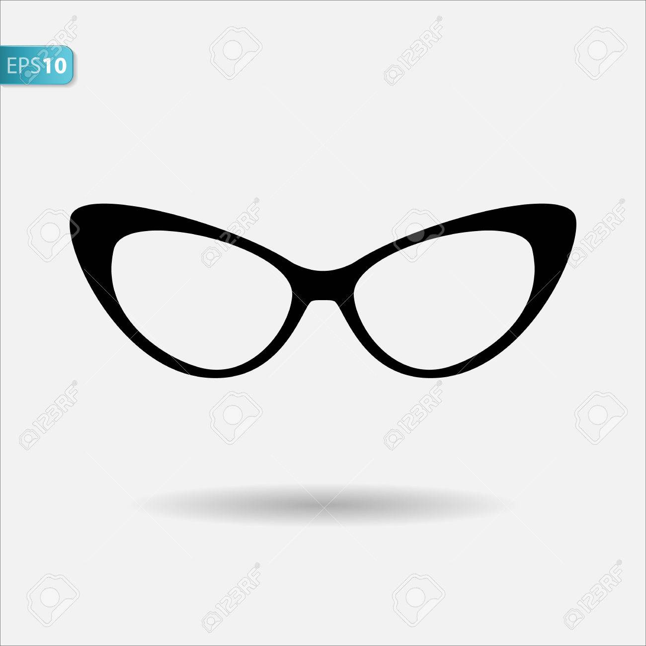 Cat eyes glasses, flat vector icon.