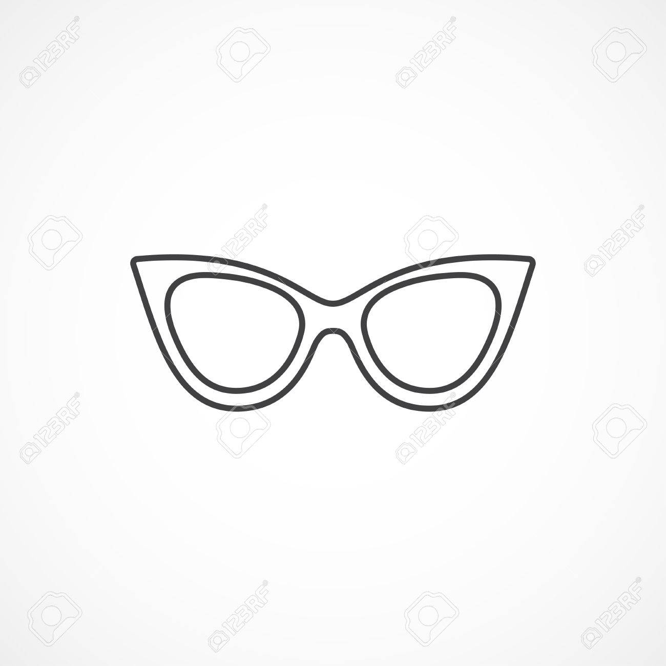 Sunglasses cat eye vector minimal isolated line icon..
