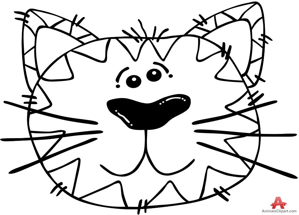 Doodle Cat Face in Black and White.