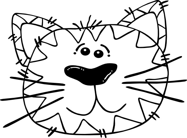 Cartoon Cat Face Outline clip art Free vector in Open office.