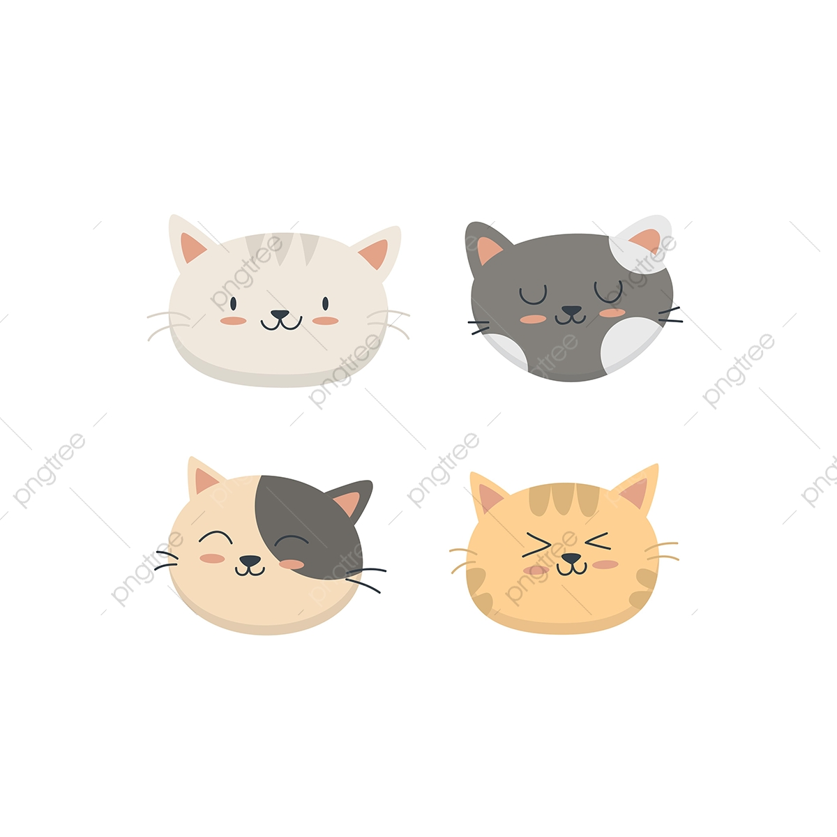 Cute Cat Face Collection Set, Cat, Cute, Face PNG and Vector with.