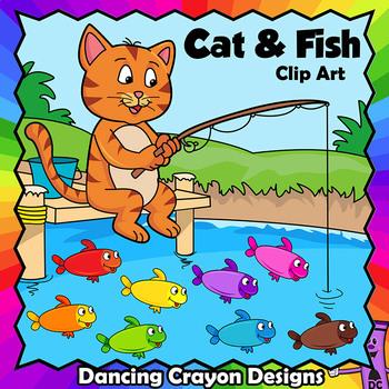 Clip Art Cat and Fish.