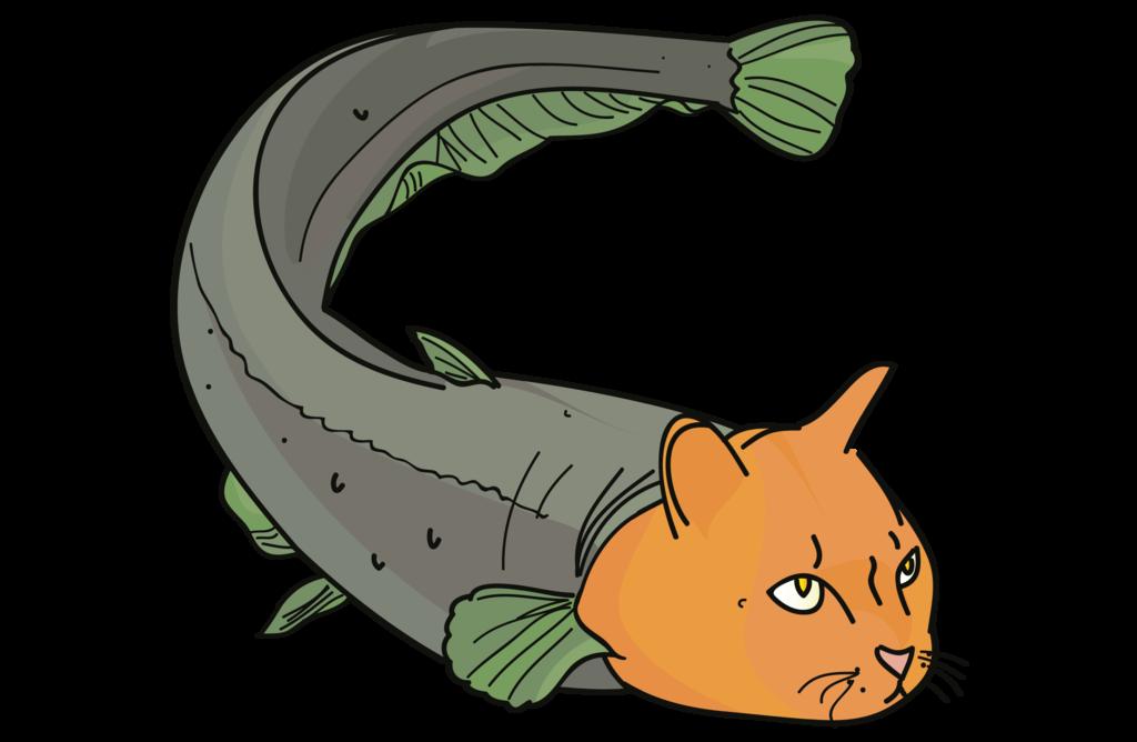 63 Straightforward Cat Fish Cartoon.