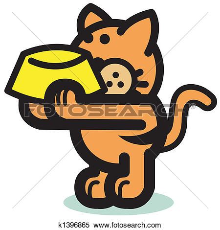 Clipart of Cute Hungry Cat Holding Food Bowl k1396865.