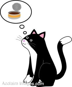 Clip Art Of A Cat Thinking About A Can Of Cat Food.