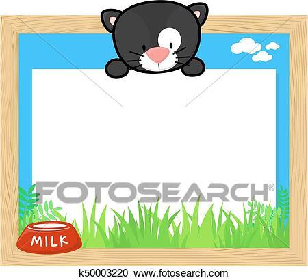 Cute black cat frame Clipart.