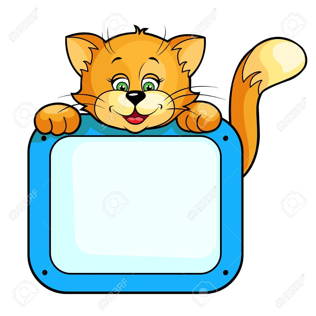Cute cartoon vector illustration of Cat with frame Isolated...