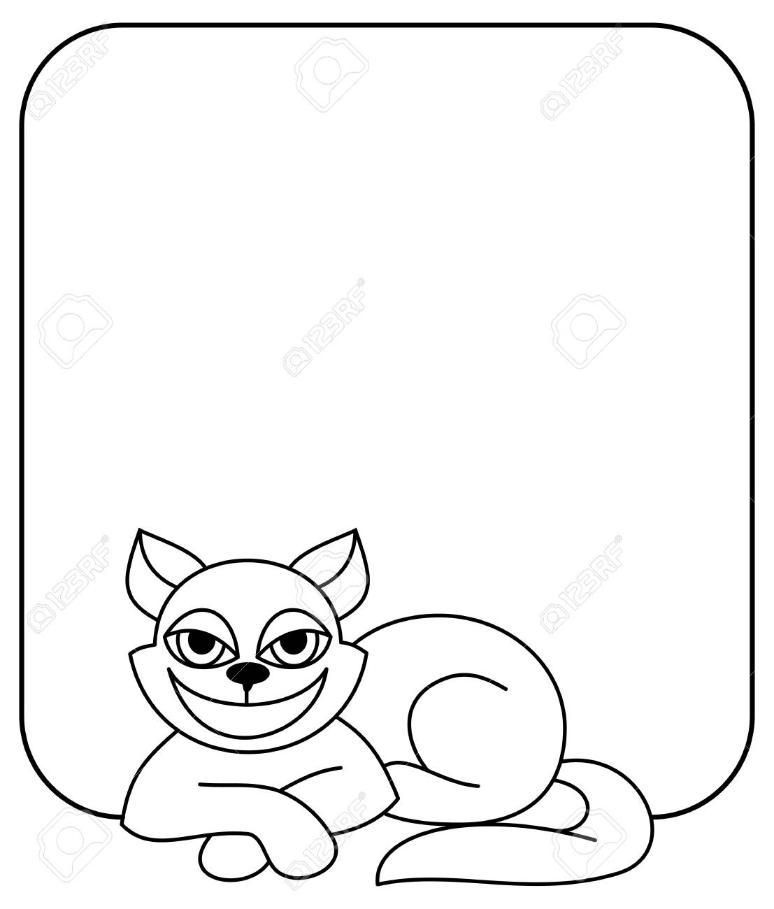 Outline frame with cat. Vector clip art.