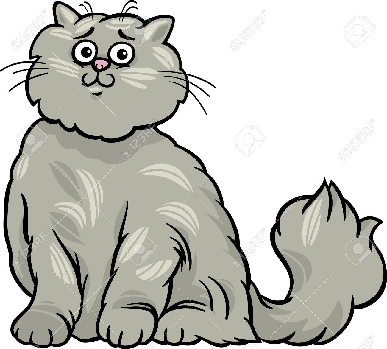 Cartoon Illustration Of Cute Gray Long Hair Persian Cat Royalty.