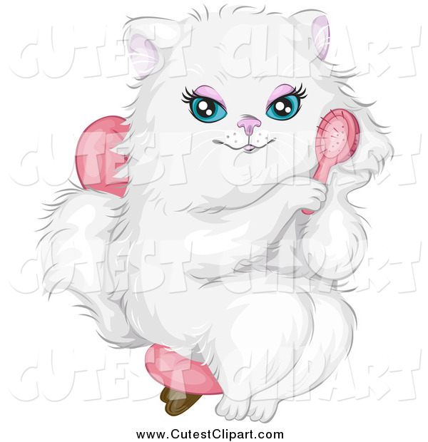 Vector Clip Art of a Prissy White Cat Sitting in a Chair and.