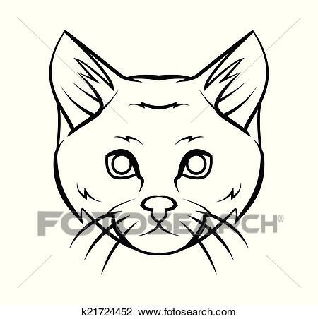 Cat Head Tattoo Vector Illustration Clipart.